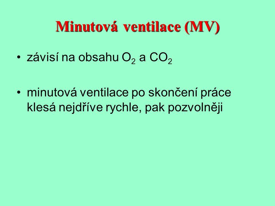 Minutová ventilace (MV) závisí na obsahu O 2 a CO 2 minutová ventilace po skončení práce klesá nejdříve rychle, pak pozvolněji