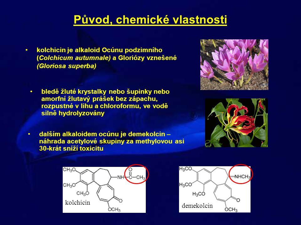 Původ, chemické vlastnosti kolchicin je alkaloid Ocúnu podzimního (Colchicum autumnale) a Gloriózy vznešené (Gloriosa superba) bledě žluté krystalky n