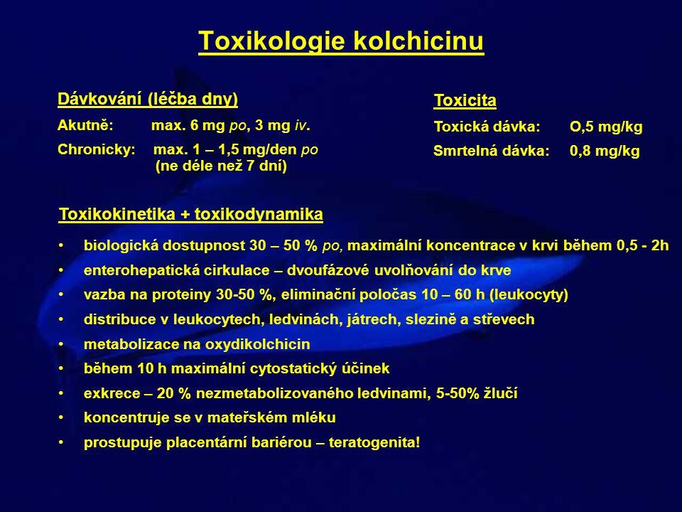 Toxikologie kolchicinu Dávkování (léčba dny) Akutně: max. 6 mg po, 3 mg iv. Chronicky: max. 1 – 1,5 mg/den po (ne déle než 7 dní) Toxikokinetika + tox