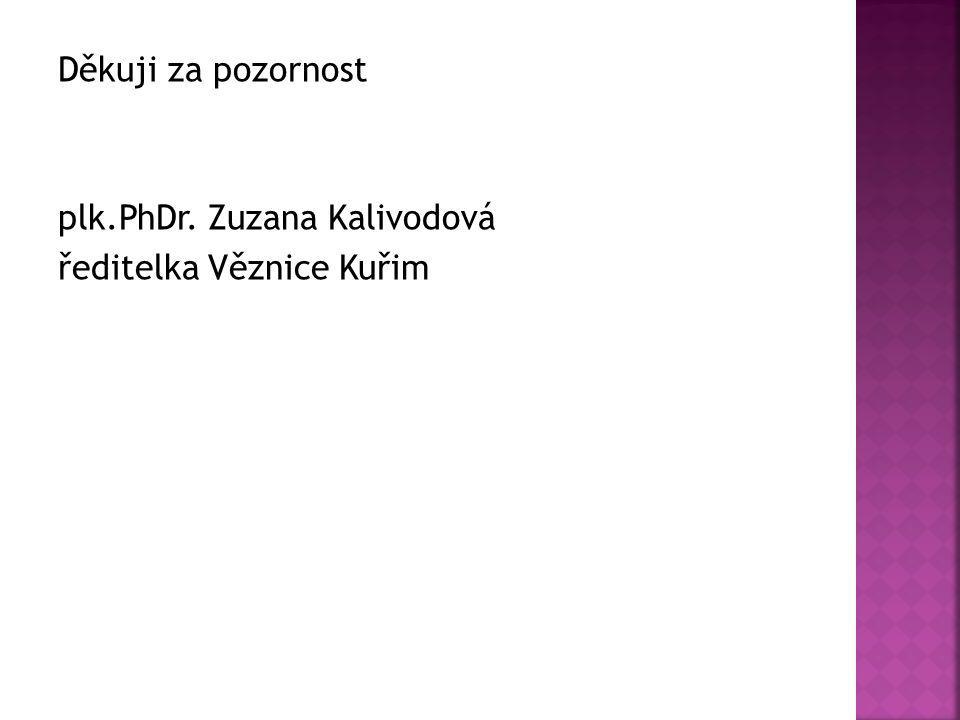 Děkuji za pozornost plk.PhDr. Zuzana Kalivodová ředitelka Věznice Kuřim