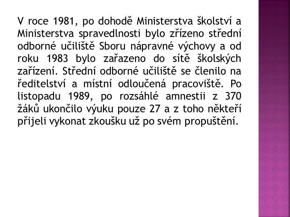 V roce 1981, po dohodě Ministerstva školství a Ministerstva spravedlnosti bylo zřízeno střední odborné učiliště Sboru nápravné výchovy a od roku 1983