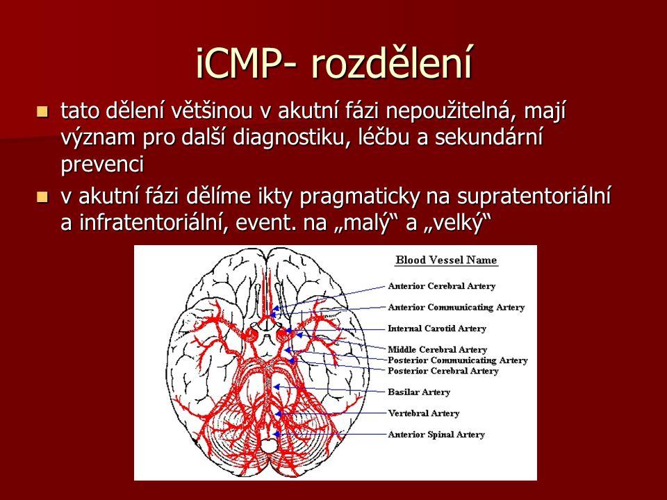 iCMP- rozdělení tato dělení většinou v akutní fázi nepoužitelná, mají význam pro další diagnostiku, léčbu a sekundární prevenci tato dělení většinou v akutní fázi nepoužitelná, mají význam pro další diagnostiku, léčbu a sekundární prevenci v akutní fázi dělíme ikty pragmaticky na supratentoriální a infratentoriální, event.
