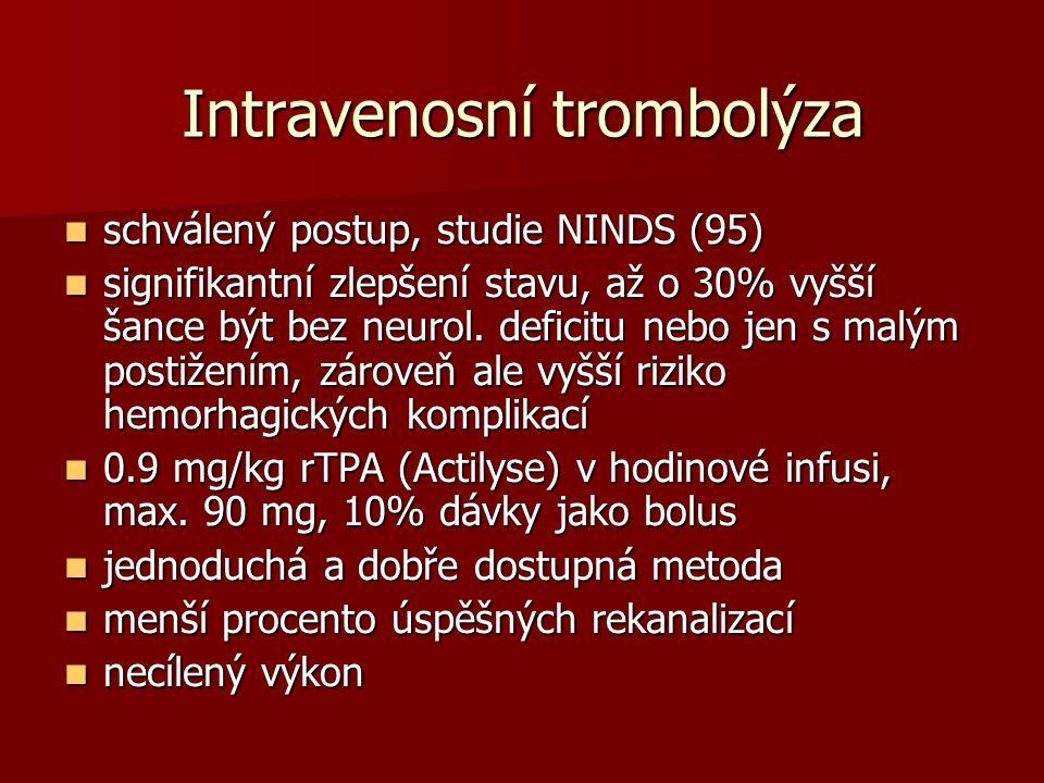 Intravenosní trombolýza schválený postup, studie NINDS (95) schválený postup, studie NINDS (95) signifikantní zlepšení stavu, až o 30% vyšší šance být bez neurol.