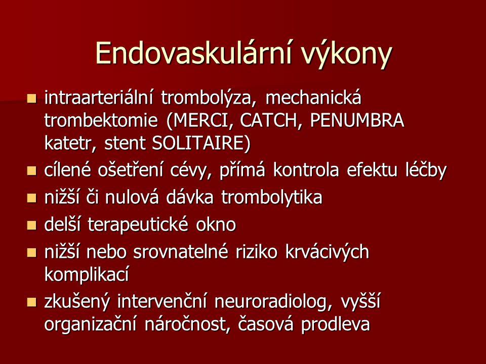 Endovaskulární výkony intraarteriální trombolýza, mechanická trombektomie (MERCI, CATCH, PENUMBRA katetr, stent SOLITAIRE) intraarteriální trombolýza, mechanická trombektomie (MERCI, CATCH, PENUMBRA katetr, stent SOLITAIRE) cílené ošetření cévy, přímá kontrola efektu léčby cílené ošetření cévy, přímá kontrola efektu léčby nižší či nulová dávka trombolytika nižší či nulová dávka trombolytika delší terapeutické okno delší terapeutické okno nižší nebo srovnatelné riziko krvácivých komplikací nižší nebo srovnatelné riziko krvácivých komplikací zkušený intervenční neuroradiolog, vyšší organizační náročnost, časová prodleva zkušený intervenční neuroradiolog, vyšší organizační náročnost, časová prodleva