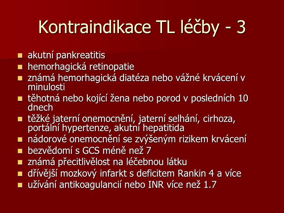 Kontraindikace TL léčby - 3 akutní pankreatitis akutní pankreatitis hemorhagická retinopatie hemorhagická retinopatie známá hemorhagická diatéza nebo vážné krvácení v minulosti známá hemorhagická diatéza nebo vážné krvácení v minulosti těhotná nebo kojící žena nebo porod v posledních 10 dnech těhotná nebo kojící žena nebo porod v posledních 10 dnech těžké jaterní onemocnění, jaterní selhání, cirhoza, portální hypertenze, akutní hepatitida těžké jaterní onemocnění, jaterní selhání, cirhoza, portální hypertenze, akutní hepatitida nádorové onemocnění se zvýšeným rizikem krvácení nádorové onemocnění se zvýšeným rizikem krvácení bezvědomí s GCS méně než 7 bezvědomí s GCS méně než 7 známá přecitlivělost na léčebnou látku známá přecitlivělost na léčebnou látku dřívější mozkový infarkt s deficitem Rankin 4 a více dřívější mozkový infarkt s deficitem Rankin 4 a více užívání antikoagulancií nebo INR více než 1.7 užívání antikoagulancií nebo INR více než 1.7