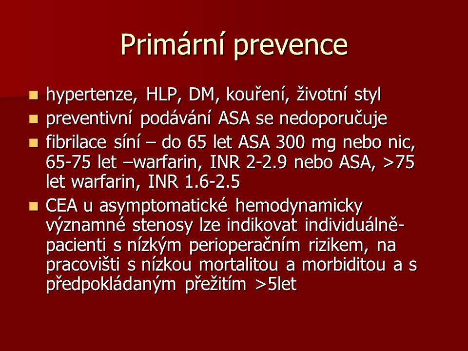 Primární prevence hypertenze, HLP, DM, kouření, životní styl hypertenze, HLP, DM, kouření, životní styl preventivní podávání ASA se nedoporučuje preventivní podávání ASA se nedoporučuje fibrilace síní – do 65 let ASA 300 mg nebo nic, 65-75 let –warfarin, INR 2-2.9 nebo ASA, >75 let warfarin, INR 1.6-2.5 fibrilace síní – do 65 let ASA 300 mg nebo nic, 65-75 let –warfarin, INR 2-2.9 nebo ASA, >75 let warfarin, INR 1.6-2.5 CEA u asymptomatické hemodynamicky významné stenosy lze indikovat individuálně- pacienti s nízkým perioperačním rizikem, na pracovišti s nízkou mortalitou a morbiditou a s předpokládaným přežitím >5let CEA u asymptomatické hemodynamicky významné stenosy lze indikovat individuálně- pacienti s nízkým perioperačním rizikem, na pracovišti s nízkou mortalitou a morbiditou a s předpokládaným přežitím >5let