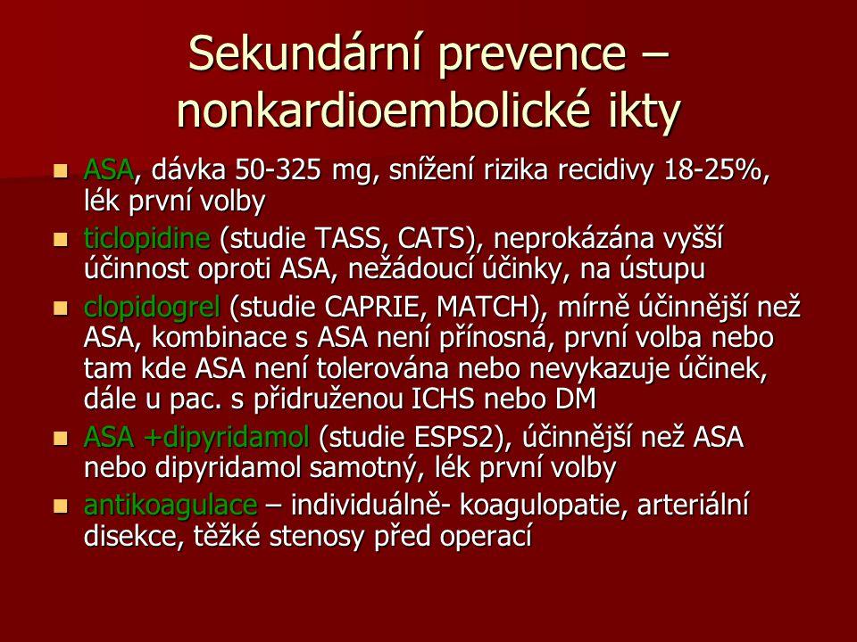 Sekundární prevence – nonkardioembolické ikty ASA, dávka 50-325 mg, snížení rizika recidivy 18-25%, lék první volby ASA, dávka 50-325 mg, snížení rizika recidivy 18-25%, lék první volby ticlopidine (studie TASS, CATS), neprokázána vyšší účinnost oproti ASA, nežádoucí účinky, na ústupu ticlopidine (studie TASS, CATS), neprokázána vyšší účinnost oproti ASA, nežádoucí účinky, na ústupu clopidogrel (studie CAPRIE, MATCH), mírně účinnější než ASA, kombinace s ASA není přínosná, první volba nebo tam kde ASA není tolerována nebo nevykazuje účinek, dále u pac.