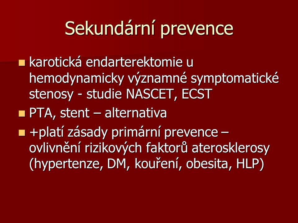 Sekundární prevence karotická endarterektomie u hemodynamicky významné symptomatické stenosy - studie NASCET, ECST karotická endarterektomie u hemodynamicky významné symptomatické stenosy - studie NASCET, ECST PTA, stent – alternativa PTA, stent – alternativa +platí zásady primární prevence – ovlivnění rizikových faktorů aterosklerosy (hypertenze, DM, kouření, obesita, HLP) +platí zásady primární prevence – ovlivnění rizikových faktorů aterosklerosy (hypertenze, DM, kouření, obesita, HLP)