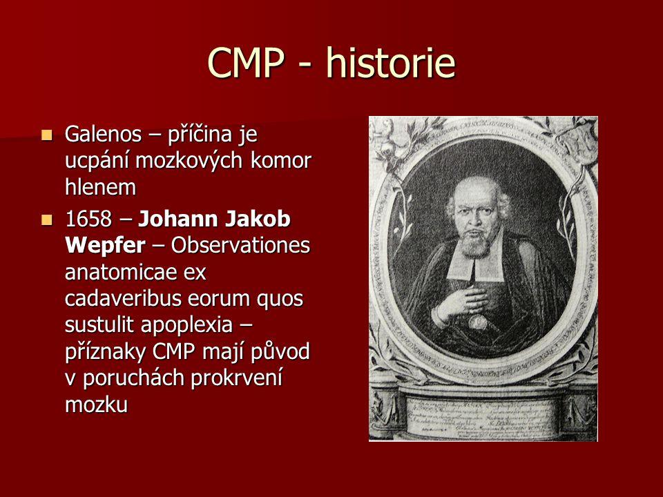 CMP - historie Galenos – příčina je ucpání mozkových komor hlenem Galenos – příčina je ucpání mozkových komor hlenem 1658 – Johann Jakob Wepfer – Obse