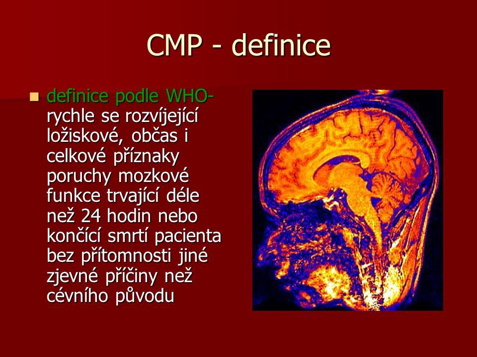 CMP - definice definice podle WHO- rychle se rozvíjející ložiskové, občas i celkové příznaky poruchy mozkové funkce trvající déle než 24 hodin nebo končící smrtí pacienta bez přítomnosti jiné zjevné příčiny než cévního původu definice podle WHO- rychle se rozvíjející ložiskové, občas i celkové příznaky poruchy mozkové funkce trvající déle než 24 hodin nebo končící smrtí pacienta bez přítomnosti jiné zjevné příčiny než cévního původu