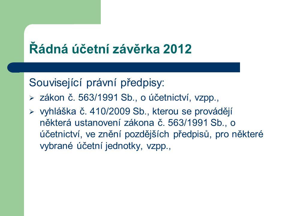 Řádná účetní závěrka 2012 Související právní předpisy:  zákon č. 563/1991 Sb., o účetnictví, vzpp.,  vyhláška č. 410/2009 Sb., kterou se provádějí n