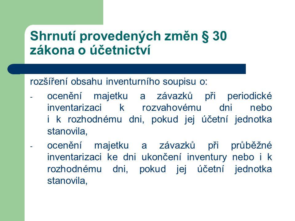 Shrnutí provedených změn § 30 zákona o účetnictví rozšíření obsahu inventurního soupisu o: - ocenění majetku a závazků při periodické inventarizaci k