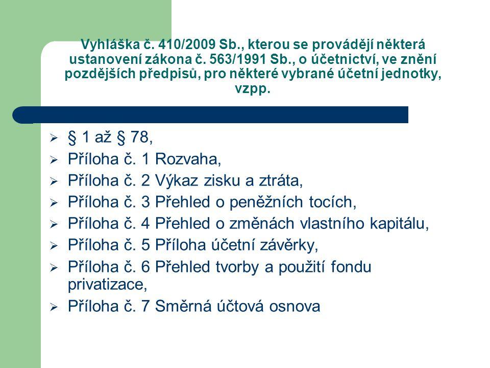 Vyhláška č. 410/2009 Sb., kterou se provádějí některá ustanovení zákona č. 563/1991 Sb., o účetnictví, ve znění pozdějších předpisů, pro některé vybra