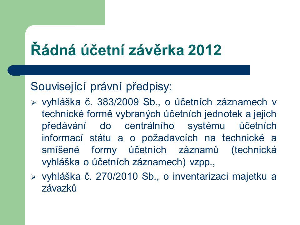 Řádná účetní závěrka 2012 Související právní předpisy:  vyhláška č. 383/2009 Sb., o účetních záznamech v technické formě vybraných účetních jednotek
