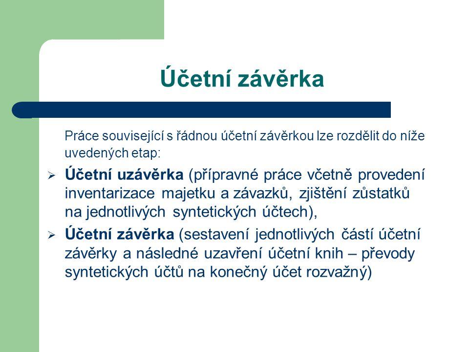 Účetní závěrka Práce související s řádnou účetní závěrkou lze rozdělit do níže uvedených etap:  Účetní uzávěrka (přípravné práce včetně provedení inv
