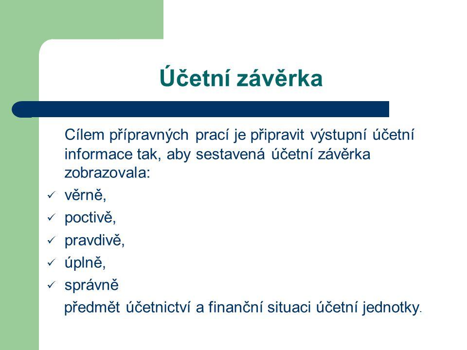 Účetní závěrka Cílem přípravných prací je připravit výstupní účetní informace tak, aby sestavená účetní závěrka zobrazovala: věrně, poctivě, pravdivě, úplně, správně předmět účetnictví a finanční situaci účetní jednotky.