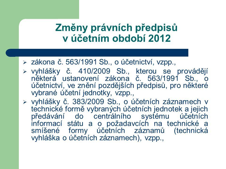 Změny právních předpisů v účetním období 2012  zákona č. 563/1991 Sb., o účetnictví, vzpp.,  vyhlášky č. 410/2009 Sb., kterou se provádějí některá u