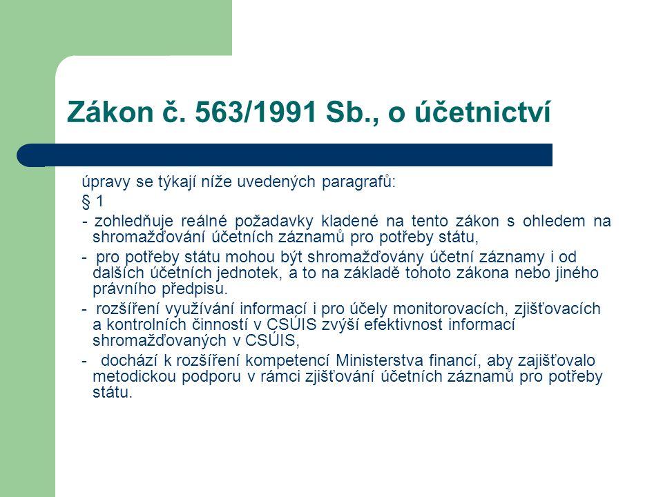 Zákon č. 563/1991 Sb., o účetnictví úpravy se týkají níže uvedených paragrafů: § 1 - zohledňuje reálné požadavky kladené na tento zákon s ohledem na s