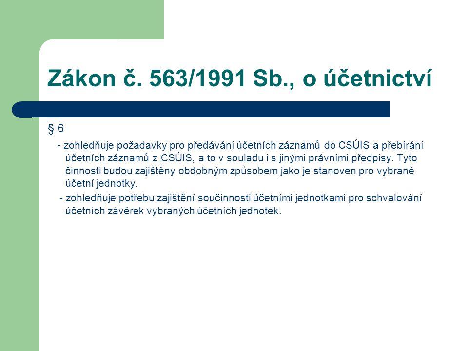 Zákon č. 563/1991 Sb., o účetnictví § 6 - zohledňuje požadavky pro předávání účetních záznamů do CSÚIS a přebírání účetních záznamů z CSÚIS, a to v so