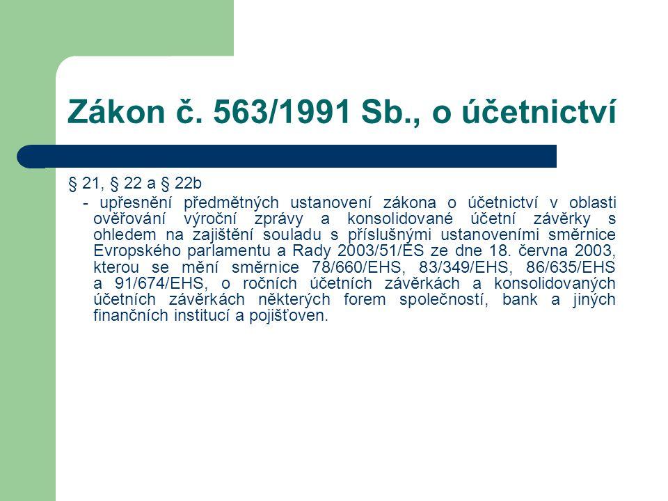 Zákon č. 563/1991 Sb., o účetnictví § 21, § 22 a § 22b - upřesnění předmětných ustanovení zákona o účetnictví v oblasti ověřování výroční zprávy a kon