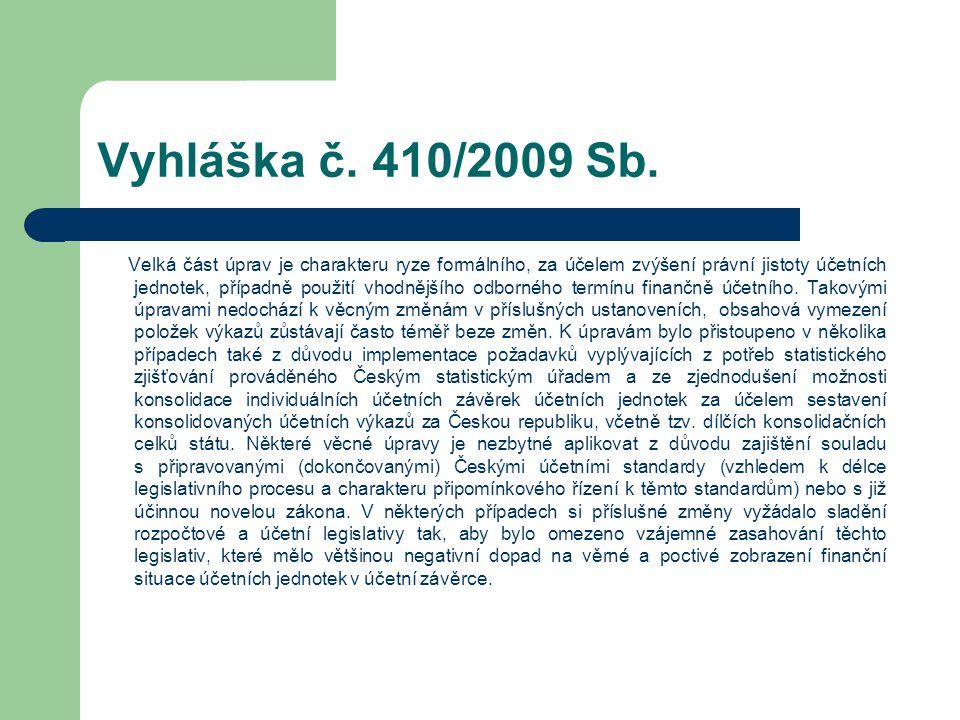 Vyhláška č. 410/2009 Sb. Velká část úprav je charakteru ryze formálního, za účelem zvýšení právní jistoty účetních jednotek, případně použití vhodnějš