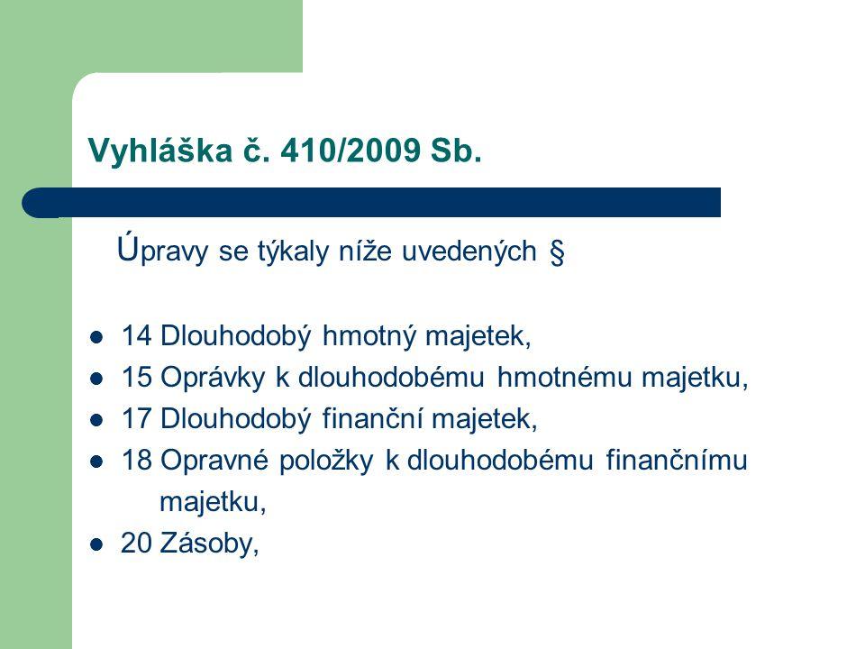 Vyhláška č. 410/2009 Sb. Ú pravy se týkaly níže uvedených § 14 Dlouhodobý hmotný majetek, 15 Oprávky k dlouhodobému hmotnému majetku, 17 Dlouhodobý fi