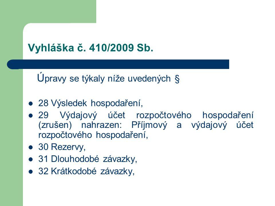 Vyhláška č. 410/2009 Sb. Ú pravy se týkaly níže uvedených § 28 Výsledek hospodaření, 29 Výdajový účet rozpočtového hospodaření (zrušen) nahrazen: Příj