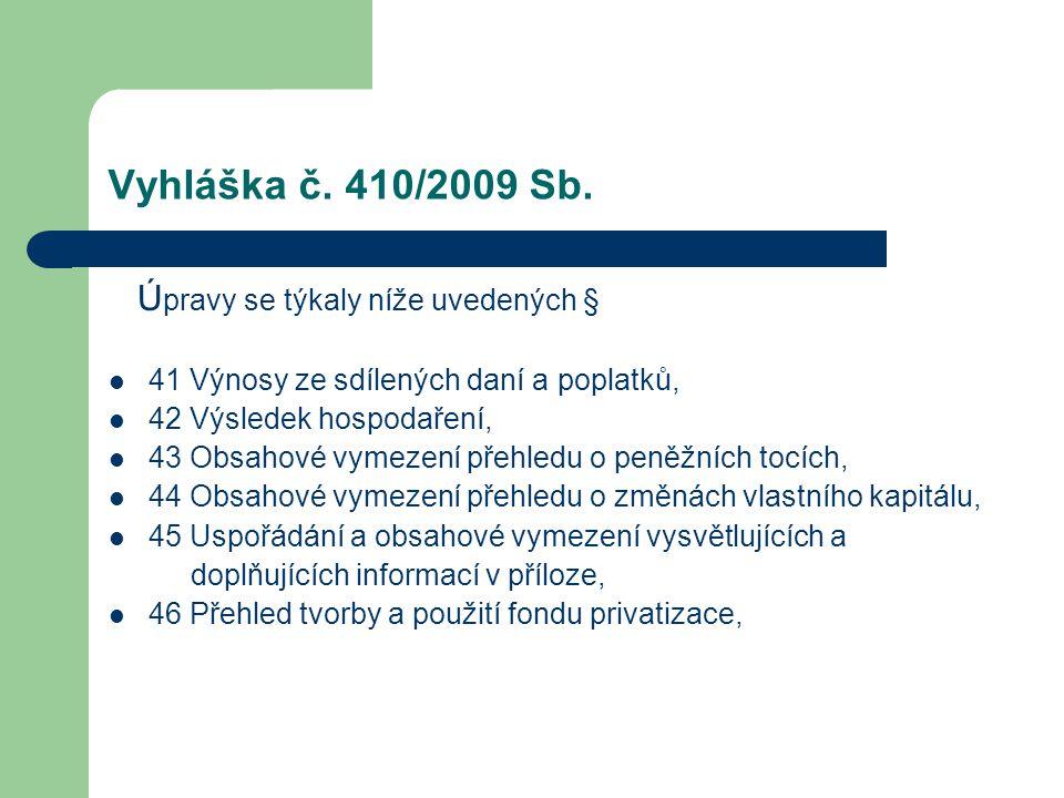 Vyhláška č. 410/2009 Sb. Ú pravy se týkaly níže uvedených § 41 Výnosy ze sdílených daní a poplatků, 42 Výsledek hospodaření, 43 Obsahové vymezení přeh