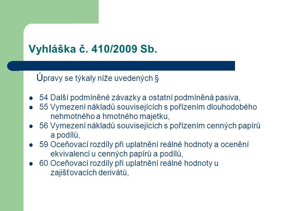 Vyhláška č. 410/2009 Sb. Ú pravy se týkaly níže uvedených § 54 Další podmíněné závazky a ostatní podmíněná pasiva, 55 Vymezení nákladů souvisejících s