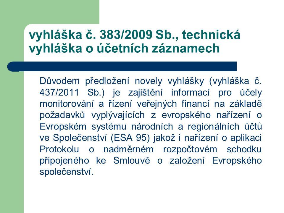 vyhláška č. 383/2009 Sb., technická vyhláška o účetních záznamech Důvodem předložení novely vyhlášky (vyhláška č. 437/2011 Sb.) je zajištění informací