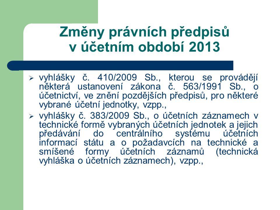 Změny právních předpisů v účetním období 2013  vyhlášky č. 410/2009 Sb., kterou se provádějí některá ustanovení zákona č. 563/1991 Sb., o účetnictví,
