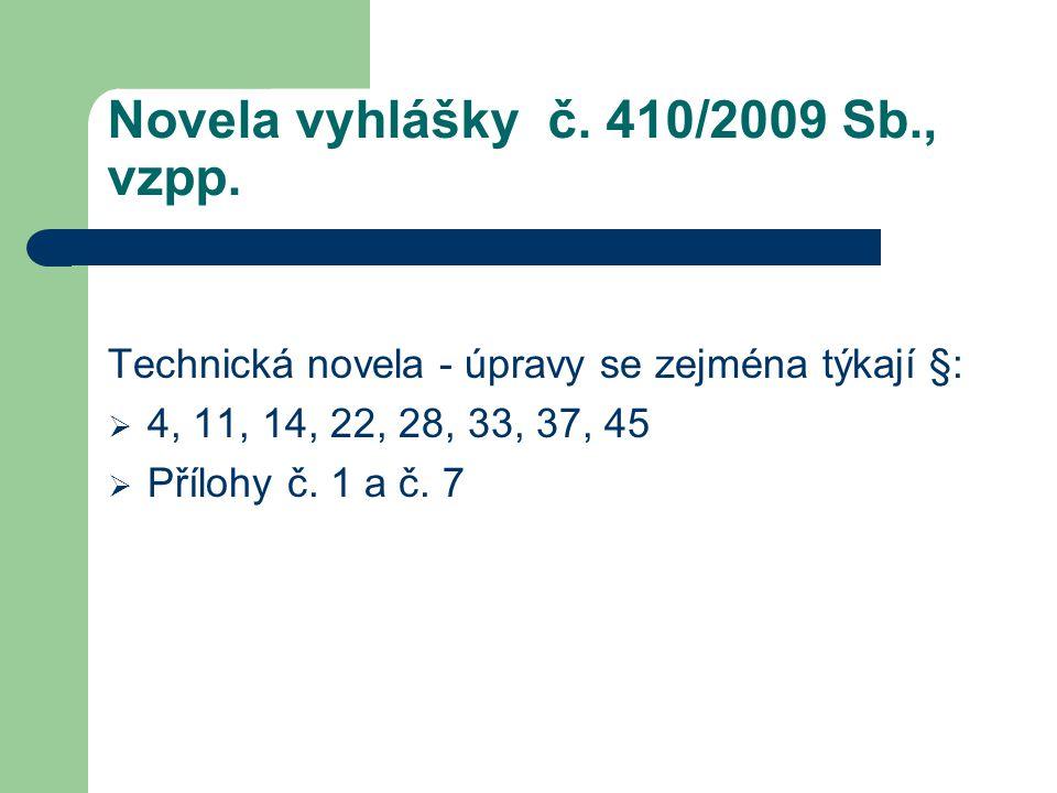 Novela vyhlášky č. 410/2009 Sb., vzpp. Technická novela - úpravy se zejména týkají §:  4, 11, 14, 22, 28, 33, 37, 45  Přílohy č. 1 a č. 7