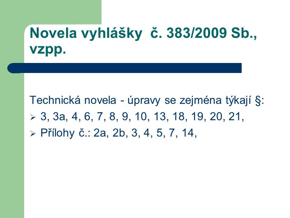 Novela vyhlášky č. 383/2009 Sb., vzpp. Technická novela - úpravy se zejména týkají §:  3, 3a, 4, 6, 7, 8, 9, 10, 13, 18, 19, 20, 21,  Přílohy č.: 2a
