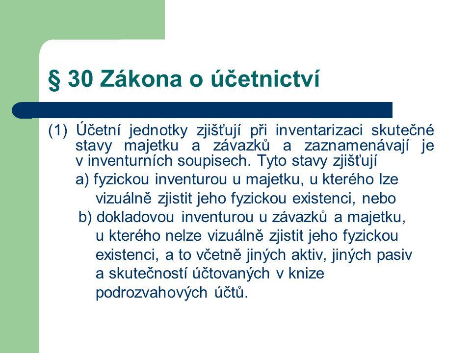 § 30 Zákona o účetnictví (2) Účetní jednotky při inventarizaci postupují tak, že provádějí jednu nebo více inventur a ověřují, zda zjištěný skutečný stav odpovídá stavu v účetnictví.