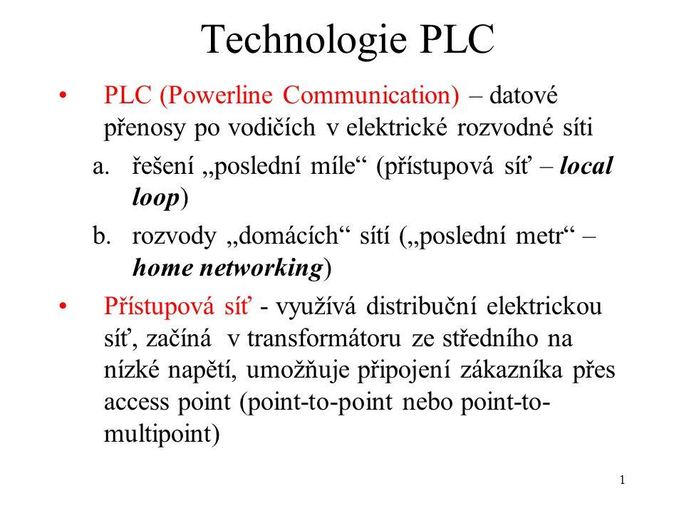 """1 Technologie PLC PLC (Powerline Communication) – datové přenosy po vodičích v elektrické rozvodné síti a.řešení """"poslední míle"""" (přístupová síť – loc"""