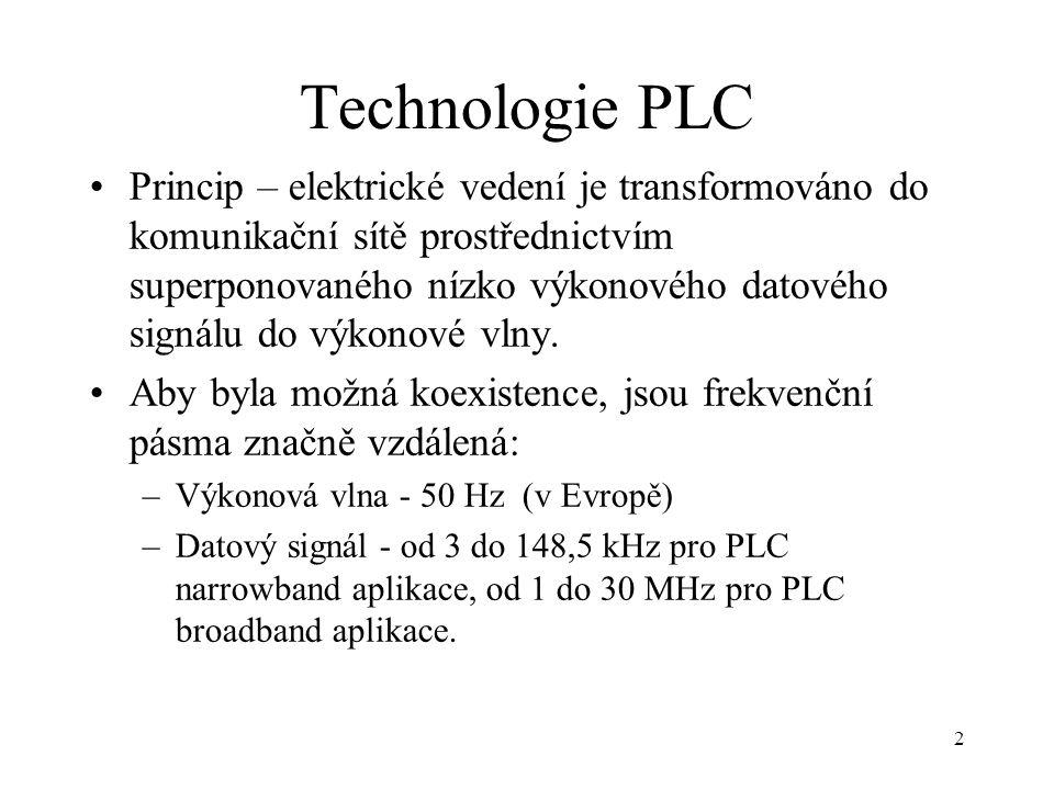 2 Technologie PLC Princip – elektrické vedení je transformováno do komunikační sítě prostřednictvím superponovaného nízko výkonového datového signálu