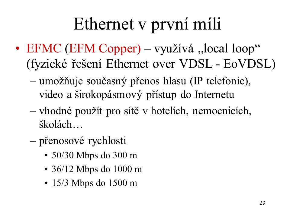 """29 Ethernet v první míli EFMC (EFM Copper) – využívá """"local loop"""" (fyzické řešení Ethernet over VDSL - EoVDSL) –umožňuje současný přenos hlasu (IP tel"""
