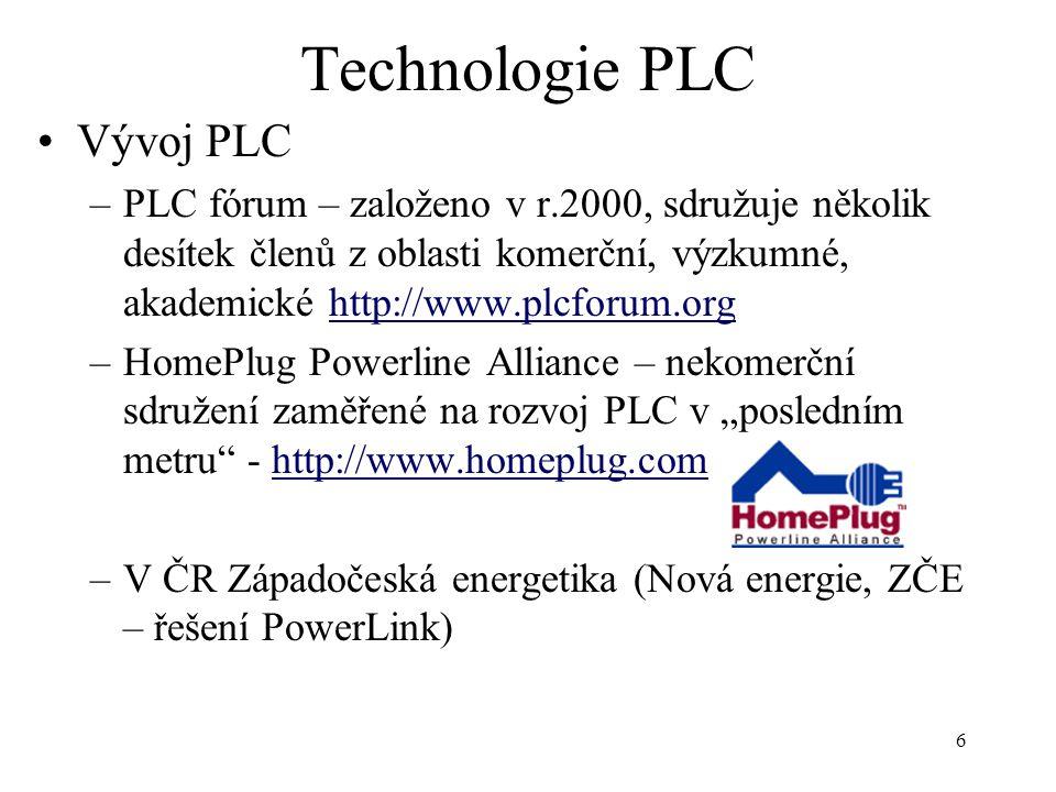 7 Technologie PLC Vlastnosti PLC –předpokládaná přenosová rychlost 14 – 20 Mbps –elektrický vodič je sdílené médium, je třeba řešit problém násobného přístupu – deterministická metoda (CSMA/CD vzhledem mezi špatnou rozlišitelností mezi šumem a signálem není vhodná) –kromě přístupu k Internetu může PLC řešit monitorování a ovládání el.