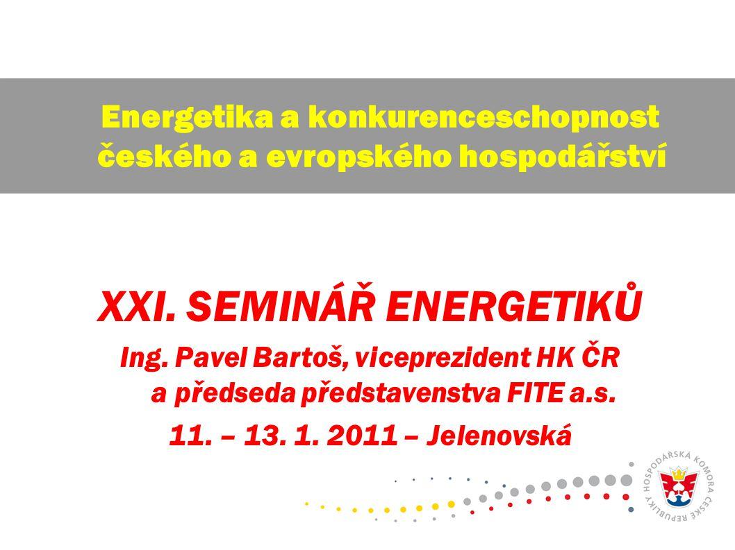 XXI. SEMINÁŘ ENERGETIKŮ Ing. Pavel Bartoš, viceprezident HK ČR a předseda představenstva FITE a.s. 11. – 13. 1. 2011 – Jelenovská Energetika a konkure