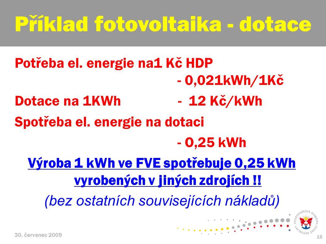 30. červenec 2009 15 Potřeba el. energie na1 Kč HDP - 0,021kWh/1Kč Dotace na 1KWh - 12 Kč/kWh Spotřeba el. energie na dotaci - O,25 kWh Výroba 1 kWh v