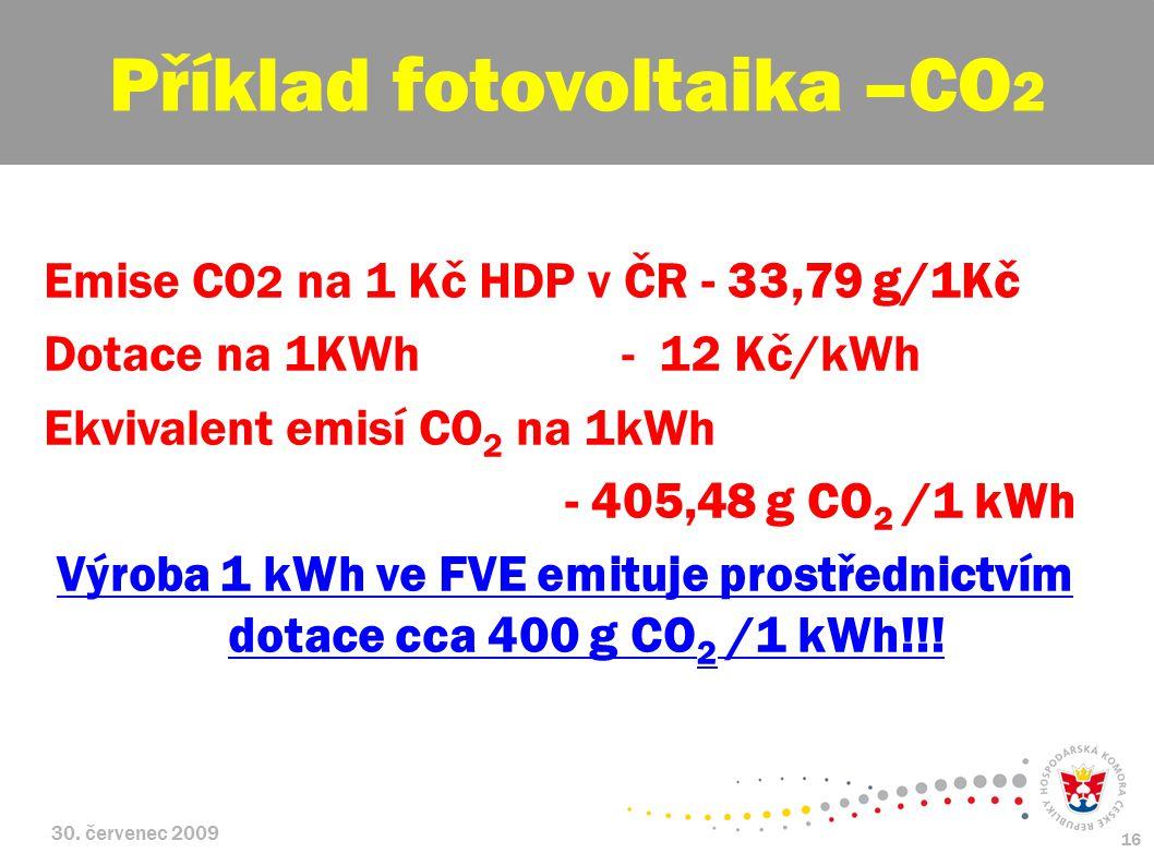 30. červenec 2009 16 Emise CO 2 na 1 Kč HDP v ČR - 33,79 g/1Kč Dotace na 1KWh - 12 Kč/kWh Ekvivalent emisí CO 2 na 1kWh - 405,48 g CO 2 /1 kWh Výroba