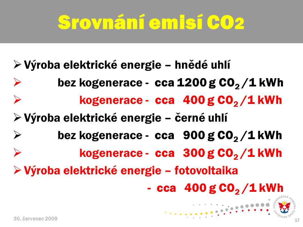 30. červenec 2009 17  Výroba elektrické energie – hnědé uhlí  bez kogenerace - cca 1200 g CO 2 /1 kWh  kogenerace - cca 400 g CO 2 /1 kWh  Výroba