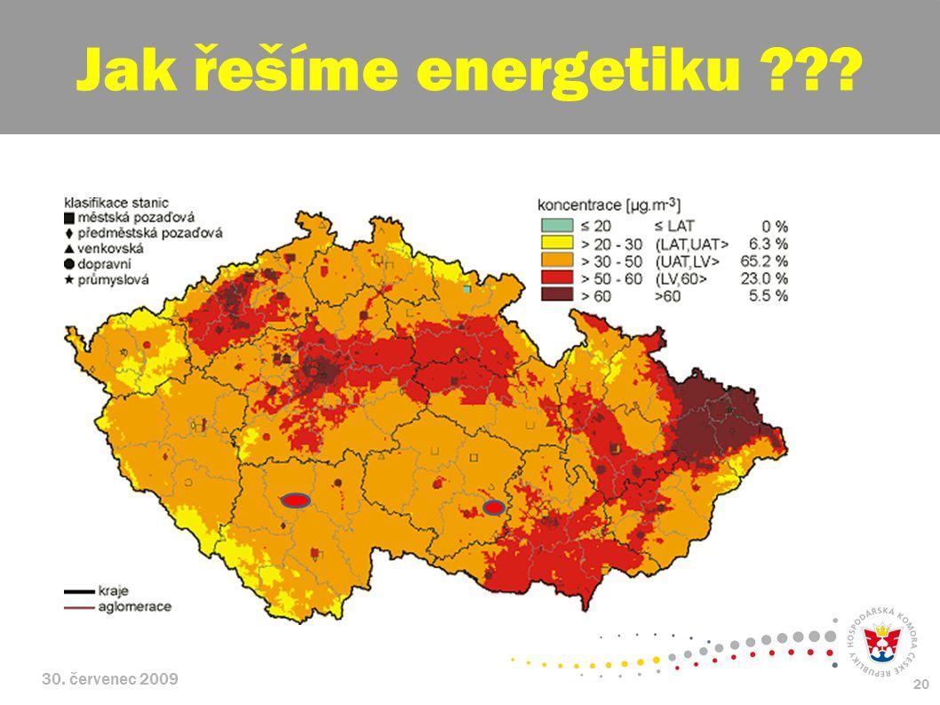 30. červenec 2009 20 Jak řešíme energetiku ???
