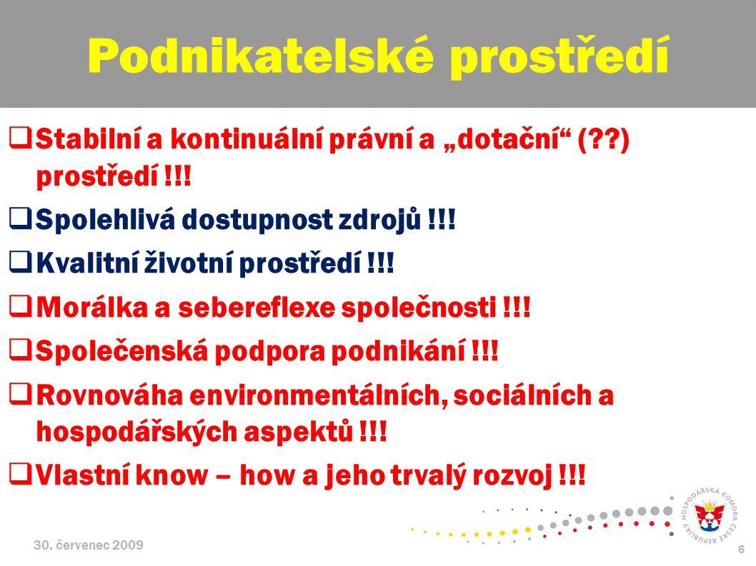 """30. červenec 2009 6  Stabilní a kontinuální právní a """"dotační"""" (??) prostředí !!!  Spolehlivá dostupnost zdrojů !!!  Kvalitní životní prostředí !!!"""