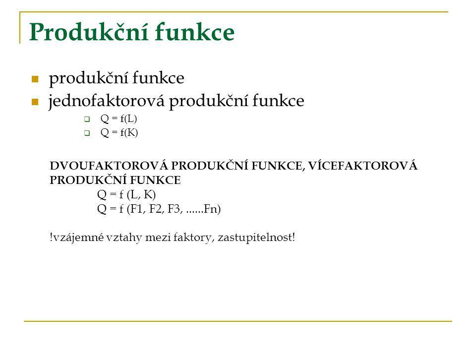 Produkční funkce produkční funkce jednofaktorová produkční funkce  Q = f(L)  Q = f(K) DVOUFAKTOROVÁ PRODUKČNÍ FUNKCE, VÍCEFAKTOROVÁ PRODUKČNÍ FUNKCE