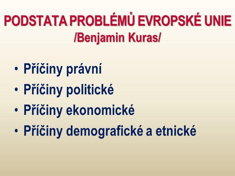 PODSTATA PROBLÉMŮ EVROPSKÉ UNIE /Benjamin Kuras/ Příčiny právní Příčiny politické Příčiny ekonomické Příčiny demografické a etnické