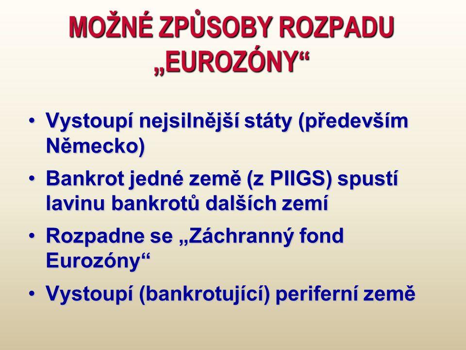 """MOŽNÉ ZPŮSOBY ROZPADU """"EUROZÓNY Vystoupí nejsilnější státy (především Německo)Vystoupí nejsilnější státy (především Německo) Bankrot jedné země (z PIIGS) spustí lavinu bankrotů dalších zemíBankrot jedné země (z PIIGS) spustí lavinu bankrotů dalších zemí Rozpadne se """"Záchranný fond Eurozóny Rozpadne se """"Záchranný fond Eurozóny Vystoupí (bankrotující) periferní zeměVystoupí (bankrotující) periferní země"""