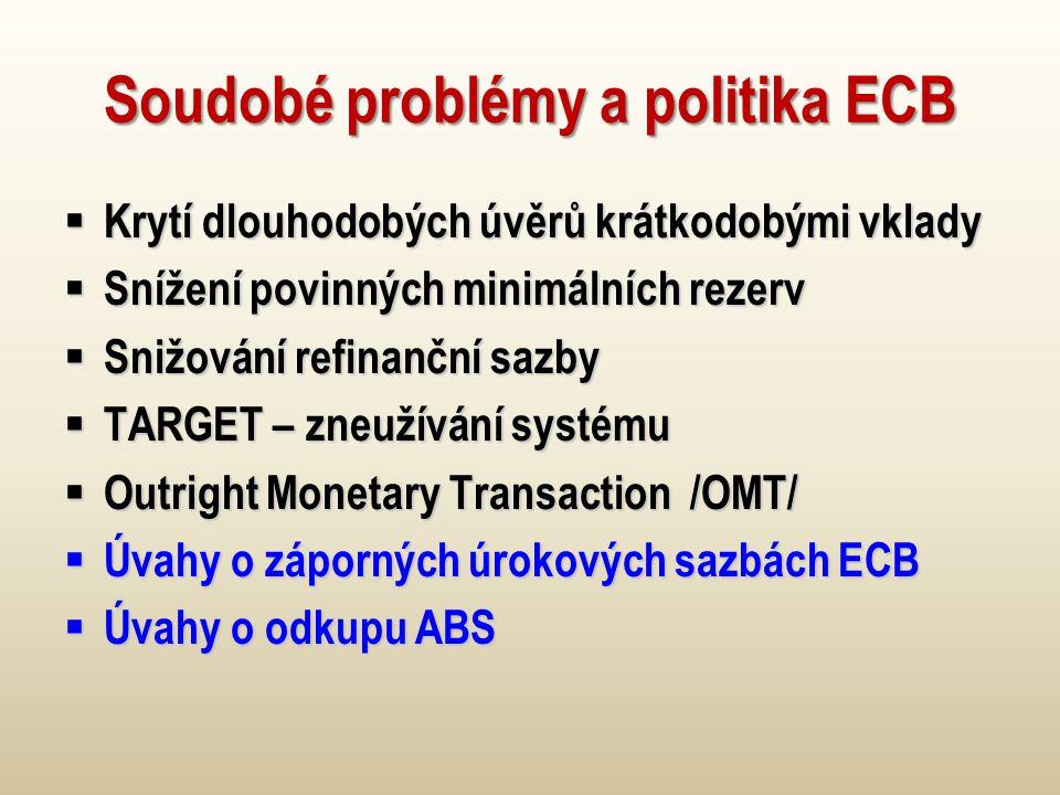 Soudobé problémy a politika ECB  Krytí dlouhodobých úvěrů krátkodobými vklady  Snížení povinných minimálních rezerv  Snižování refinanční sazby  TARGET – zneužívání systému  Outright Monetary Transaction /OMT/  Úvahy o záporných úrokových sazbách ECB  Úvahy o odkupu ABS