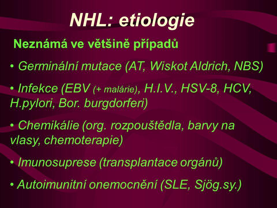 NHL: etiologie Neznámá ve většině případů Germinální mutace (AT, Wiskot Aldrich, NBS) Infekce (EBV (+ malárie), H.I.V., HSV-8, HCV, H.pylori, Bor. bur