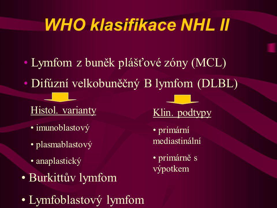 WHO klasifikace NHL II Difúzní velkobuněčný B lymfom (DLBL) Histol. varianty imunoblastový plasmablastový anaplastický Klin. podtypy primární mediasti